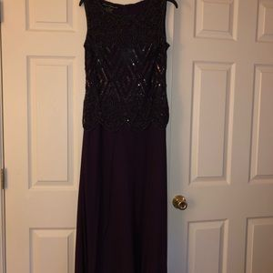 Beaded evening gown, burgundy